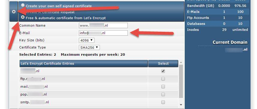 lets encrypt installeren Direct Admin stap 5