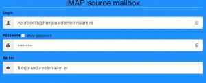 Sourcebox velden. Respectievelijk accountnaam, wachtwoord, server.