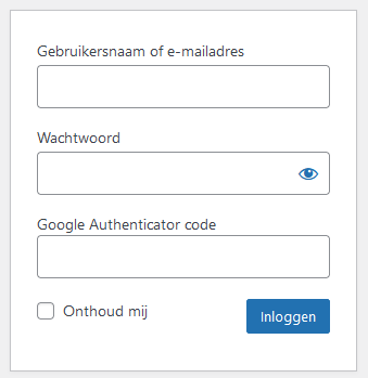 wordpress Google Authenticator inlogscherm